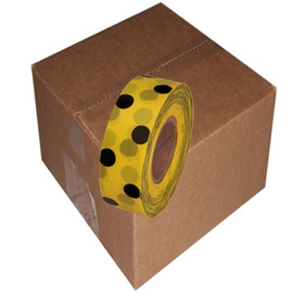 Yellow and Black Polka Dot Flagging Tape 1 3/16 inch x 300 ft Roll Non-Adhesive (12 Roll/Pack)