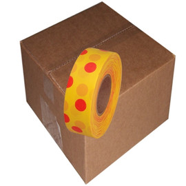 Yellow and Red Polka Dot Flagging Tape 1 3/16 inch x 300 ft Roll Non-Adhesive (12 Roll/Pack)