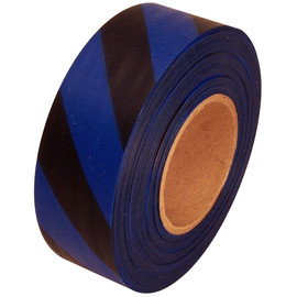 Blue and Black Safety Striped Flagging Tape 1 3/16 inch x 300 ft Roll Non-Adhesive