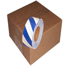 Blue and White Safety Striped Flagging Tape 1 3/16 inch x 300 ft Roll Non-Adhesive (12 Roll/Pack)