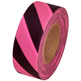 Fluorescent Pink and Black Safety Striped Flagging Tape 1 3/16 inch x 150 ft Roll Non-Adhesive
