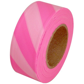 Fluorescent Pink and White Safety Striped Flagging Tape 1 3/16 inch x 150 ft Roll Non-Adhesive