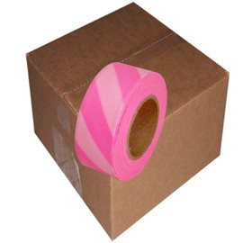 Fluorescent Pink and White Safety Striped Flagging Tape 1 3/16 inch x 150 ft Roll Non-Adhesive (12 Roll/Pack)