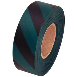 Green and Black Safety Striped Flagging Tape 1 3/16 inch x 300 ft Roll Non-Adhesive