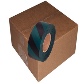 Green and Black Safety Striped Flagging Tape 1 3/16 inch x 300 ft Roll Non-Adhesive (12 Roll/Pack)