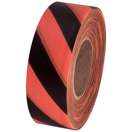 Orange and Black Safety Striped Flagging Tape 1 3/16 inch x 300 ft Roll Non-Adhesive