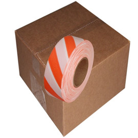 Orange and White Safety Striped Flagging Tape 1 3/16 inch x 300 ft Roll Non-Adhesive (12 Roll/Pack)