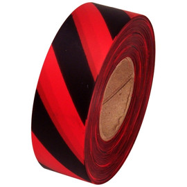Red and Black Safety Striped Flagging Tape 1 3/16 inch x 300 ft Roll Non-Adhesive