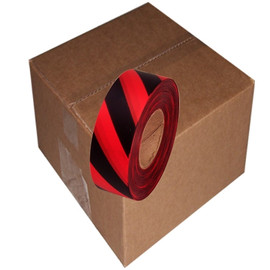 Red and Black Safety Striped Flagging Tape 1 3/16 inch x 300 ft Roll Non-Adhesive (12 Roll/Pack)