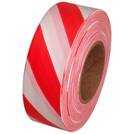 Red and White Safety Striped Flagging Tape 1 3/16 inch x 300 ft Roll Non-Adhesive
