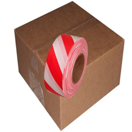 Red and White Safety Striped Flagging Tape 1 3/16 inch x 300 ft Roll Non-Adhesive (12 Roll/Pack)