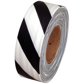 Black and White Safety Striped Flagging Tape 1 3/16 inch x 300 ft Roll Non-Adhesive