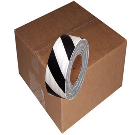 Black and White Safety Striped Flagging Tape 1 3/16 inch x 300 ft Roll Non-Adhesive (12 Roll/Pack)
