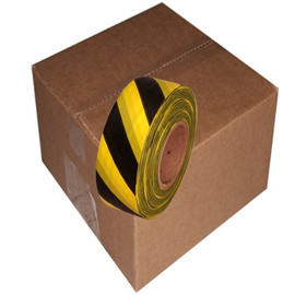 Black and Yellow Safety Striped Flagging Tape 1 3/16 inch x 300 ft Roll Non-Adhesive (12 Roll/Pack)