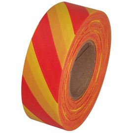 Red and Yellow Safety Striped Flagging Tape 1 3/16 inch x 300 ft Roll Non-Adhesive