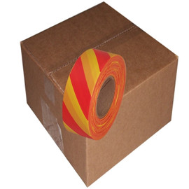 Red and Yellow Safety Striped Flagging Tape 1 3/16 inch x 300 ft Roll Non-Adhesive (12 Roll/Pack)