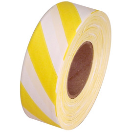 White and Yellow Safety Striped Flagging Tape 1 3/16 inch x 300 ft Roll Non-Adhesive