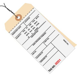 Inventory Tags Pre-Wired 2 Part Carbonless 6 1/4 inch x 3 1/8 inch Numbered (0000-0499)