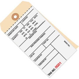 Inventory Tags 2 Part Carbonless 6 1/4 inch x 3 1/8 inch Numbered (7500-7999)