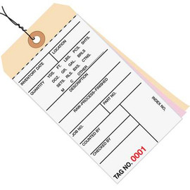 Inventory Tags Pre-Wired 3 Part Carbonless 6 1/4 inch x 3 1/8 inch Numbered (7000-7499)