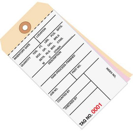Inventory Tags 3 Part Carbonless 6 1/4 inch x 3 1/8 inch Numbered (9500-9999)