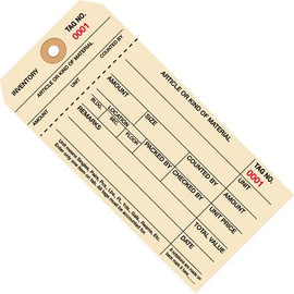 Inventory Tags 1 Part Stub Style 6 1/4 inch x 3 1/8 inch Numbered (0000-0999)