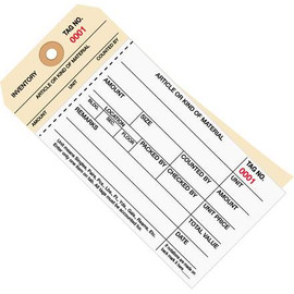 Inventory Tags 2 Part Carbonless Stub Style 6 1/4 inch x 3 1/8 inch Numbered (1000-1499)
