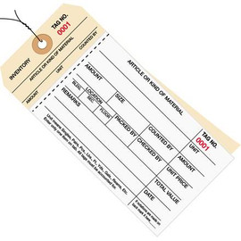Inventory Tags Pre-Wired 2 Part Carbonless Stub Style 6 1/4 inch x 3 1/8 inch Numbered (1000-1499)