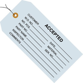Inspection Tags Pre-Wired, ACCEPTED Blue 4 3/4 inch x 2 3/8 inch (1000 Per/Pack)