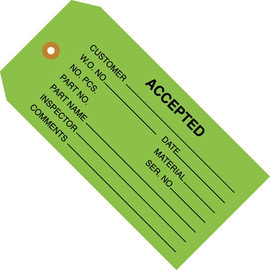 Inspection Tags ACCEPTED Green 4 3/4 inch x 2 3/8 inch (1000 Per/Pack)