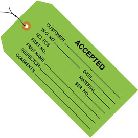 Inspection Tags Pre-Wired, ACCEPTED Green 4 3/4 inch x 2 3/8 inch (1000 Per/Pack)