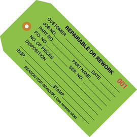 Inspection Tags REPAIRABLE OR REWORK Green 4 3/4 inch x 2 3/8 inch (1000 Per/Pack)