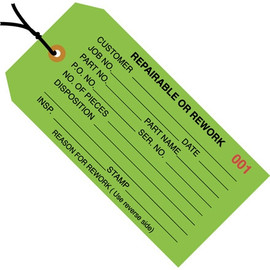 Inspection Tags Pre-Strung, REPAIRABLE OR REWORK Green 4 3/4 inch x 2 3/8 inch (1000 Per/Pack)