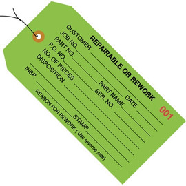 Inspection Tags Pre-Wired, REPAIRABLE OR REWORK Green 4 3/4 inch x 2 3/8 inch (1000 Per/Pack)