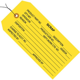 Inspection Tags Pre-Wired, SCRAP Yellow 4 3/4 inch x 2 3/8 inch (1000 Per/Pack)