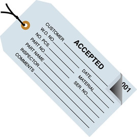 Inspection Tags Pre-Strung 2 Part ACCEPTED Blue 4 3/4 inch x 2 3/8 inch (500 Per/Pack)