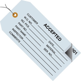 Inspection Tags Pre-Wired 2 Part ACCEPTED Blue 4 3/4 inch x 2 3/8 inch (500 Per/Pack)