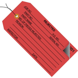 Inspection Tags Pre-Wired 2 Part REJECTED Red 4 3/4 inch x 2 3/8 inch (500 Per/Pack)