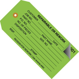 Inspection Tags 2 Part REPAIRABLE OR REWORK Green 4 3/4 inch x 2 3/8 inch (500 Per/Pack)