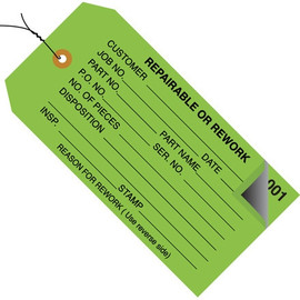 Inspection Tags Pre-Wired 2 Part REPAIRABLE OR REWORK Green 4 3/4 inch x 2 3/8 inch (500 Per/Pack)