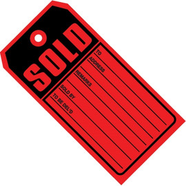 SOLD Tags Red 4 3/4 inch x 2 3/8 inch 10 pt. Stock (1000 Per/Pack)