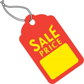 Merchandise Tags - Red / Yellow SALE PRICE 1 11/16 inch x 2 3/4 inch (1000 Per/Pack)
