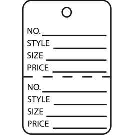 Garment Tags Perforated White 1 3/4 inch x 2 7/8 inch (1000 Per/Pack)
