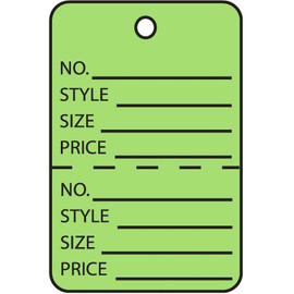 Garment Tags Perforated Green 1 3/4 inch x 2 7/8 inch (1000 Per/Pack)