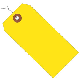 Plastic Pre-Wired Shipping Tags Yellow 4 3/4 inch x 2 3/8 inch (100 Per/Pack)