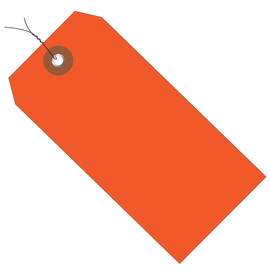 Plastic Pre-Wired Shipping Tags Orange 4 3/4 inch x 2 3/8 inch (100 Per/Pack)