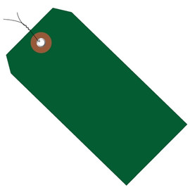 Plastic Pre-Wired Shipping Tags Green 6 1/4 inch x 3 1/8 inch (100 Per/Pack)