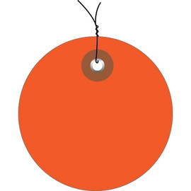 Plastic Pre-Wired Circle Tags Orange 2 inch (100 Per/Pack)