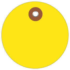 Plastic Circle Tags Yellow 3 inch (100 Per/Pack)
