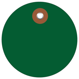 Plastic Circle Tags Green 3 inch (100 Per/Pack)